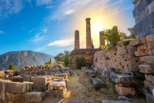 Historical place - Greek Ancient Ruins in Delphi, Greece Canvas Print