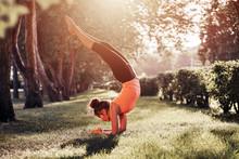 Yoga. Mixed Race Woman Practic...
