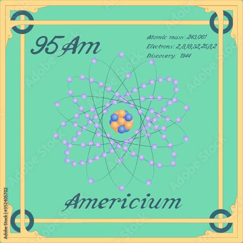 Photo Periodic table element. Americium colorful icon. Vector.