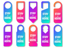 Door Hanger Tags, Handle Labels Or Knob Cards Messages. Colorful Door Hanger For Motel, Spa Resort, Office And Clinic.