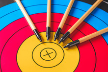 Arrows For Archery On Target, Closeup