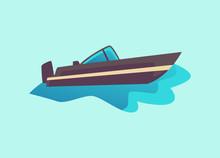 Black Cabin Cruiser Motorboat ...