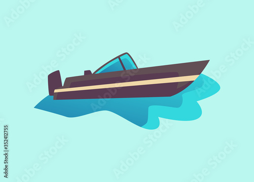 Canvastavla Black cabin cruiser motorboat in water - dark grey speed boat from side view
