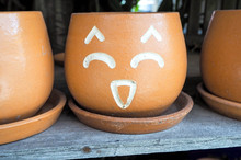 Flowerpot With Faces Showing F...