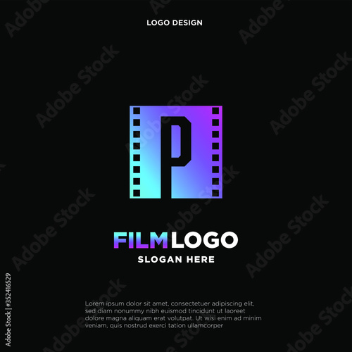 Valokuvatapetti Letter P initial logo for Cinema film and videography design template