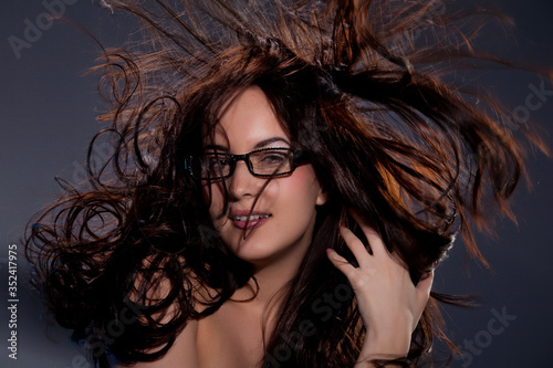 Young Topless Woman With Flying Hair Canvas Print
