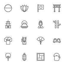 Japanese Culture Line Icons Se...