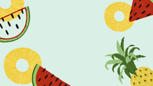 Hand Drawn Watermelon And Pine...