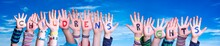 Children Hands Building Colorful English Word Children Rights. Blue Sky As Background