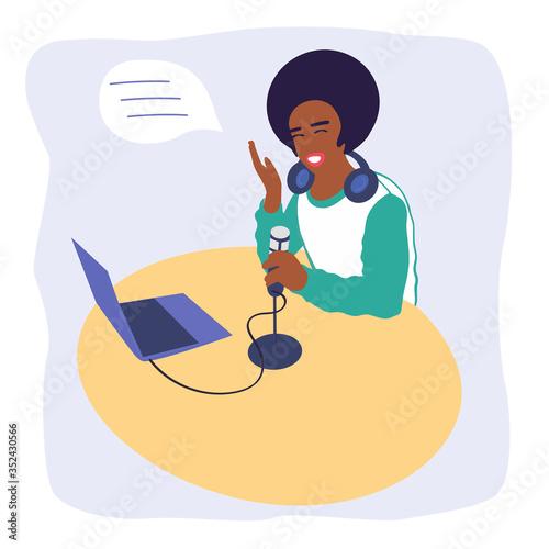 Valokuva Black guy podcaster records a podcast