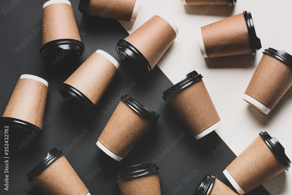 Fototapeta Takeaway cups for drink on black and white background