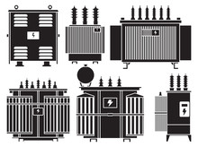 Transformer Vector Installation On White Background . Isolated Black Set Icon Energy Substation. Vector Black Set Icon Transformer.