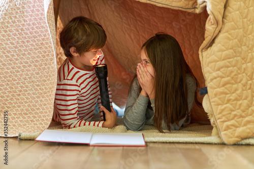 Junge albert mit Taschenlampe unter einer Decke Wallpaper Mural