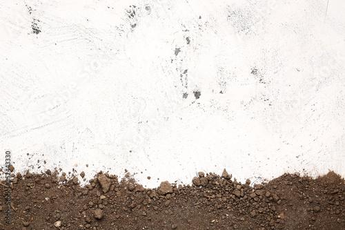 Fotografia Scattered soil on light background