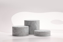 Stone Showcase Or Rock Podium Stand On Abstract White Background With Marble Concept. Pedestal Of Product Display For Design. 3D Rendering.
