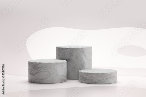 Fotomural Stone showcase or rock podium stand on abstract white background with marble concept