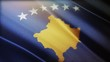 4k Kosovo National flag slow waving with visible wrinkles in wind blue sky seamless loop background.A fully digital rendering;animation loops at 40 seconds;smooth texture.