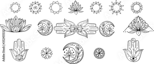 Obraz Outline collection of abstract yoga symbol with mandala, hamsa, moon, lotus, om. Indian linear yoga illustration. Vector mandala clipart for card, print, packing, poster, tattoo in yoga style - fototapety do salonu