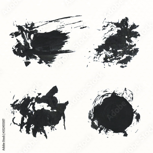 Abstract black brush stroke set vector Canvas Print