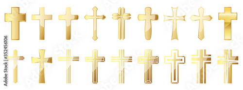 Obraz na plátně Christian Cross icons set. Gold vector christian cross