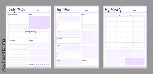 Photo 3 Set of minimalist Lilac color planners