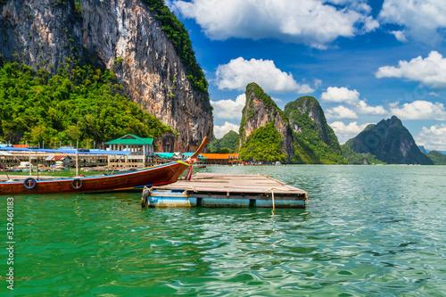 Fotografie, Obraz Amazing scenery of the Koh Panyee settlement built on stilts at Phang Nga Bay, T