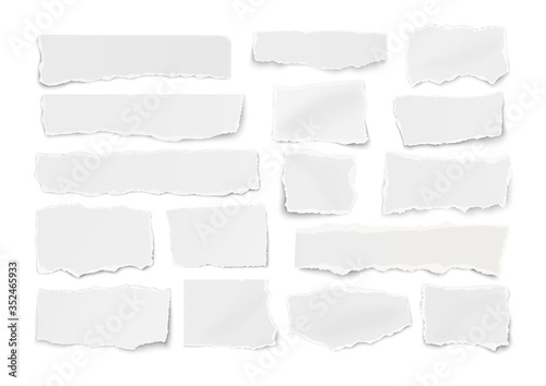 Obraz na plátně Set of paper different shapes ripped scraps fragments wisps isolated on white