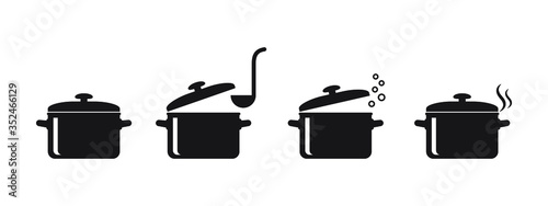 Fotografia Cooking pan icon, Pot icon vector isolated