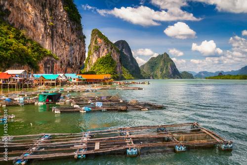Fényképezés Amazing scenery of the Koh Panyee settlement built on stilts at Phang Nga Bay, T