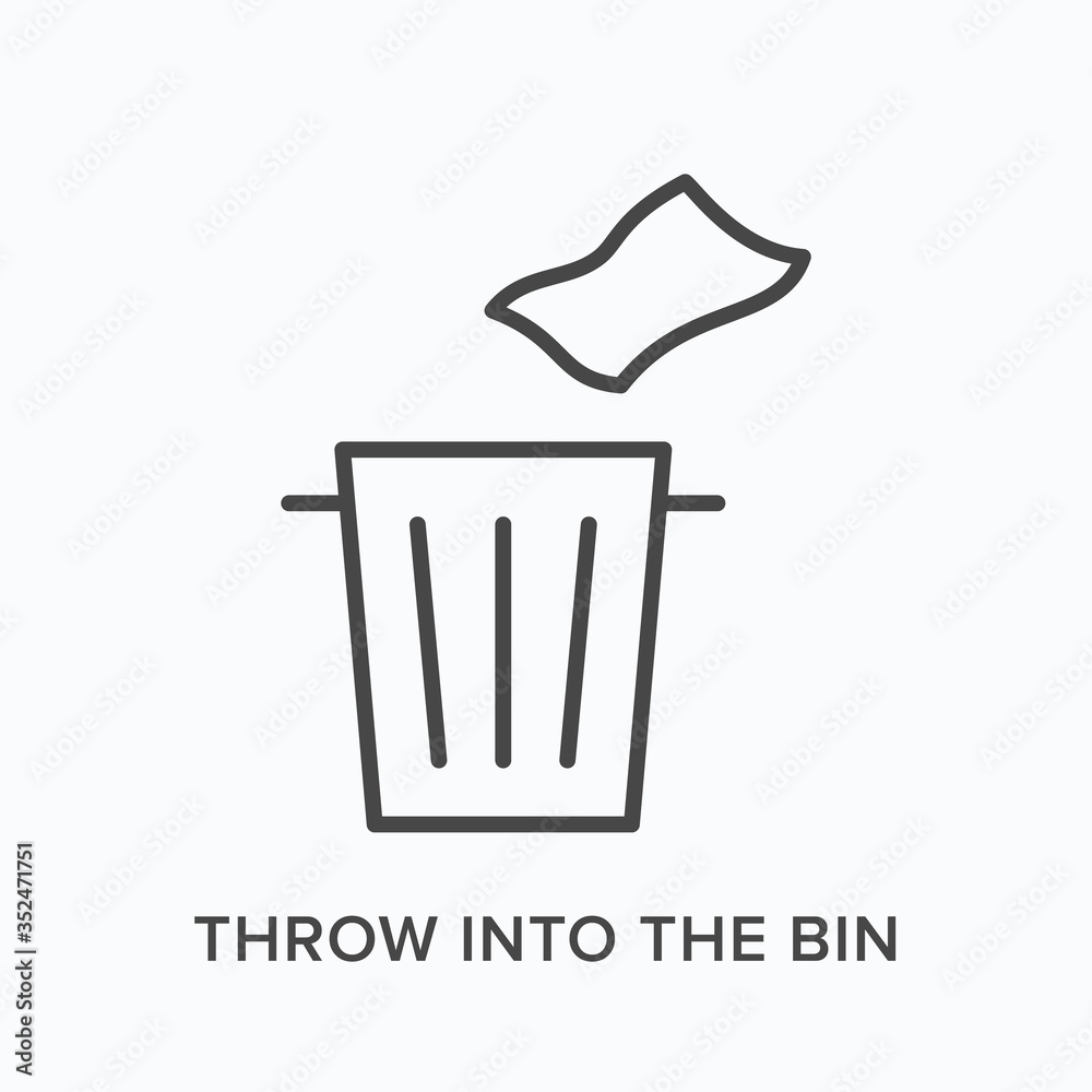 Fototapeta Throw trash into the bin flat line icon. Vector outline illustration of napkin and garbage can. Waste recycle thin linear pictogram