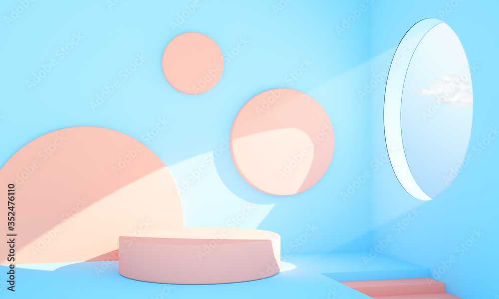 Fototapeta Abstract interior pink and blue