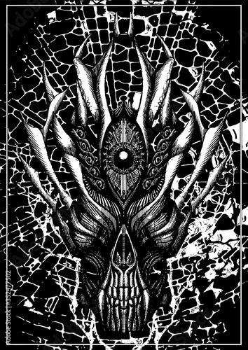 Fototapeta Horror mask, brutal demon or devil skull, terrible creature, dark, with big fangs and horns, with thorns and large mechanical eye in the middle of the head, symmetric, with texture on the background