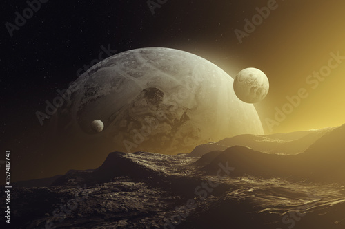 Fotografie, Tablou sunset on alien planet, planets and moons in colorful light, fantasy space 3d il