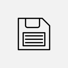 Diskette Line Icon. Floppy Disk And Save, Data Symbol. Logo. Outline Design Editable Stroke. For Yuor Design. Stock - Vector Illustration.