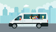 Van Car With Passengers Against The Background Of An Abstract Cityscape. Vector Flat Style Illustration.
