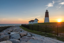 The Point Judith Lighthouse At Sunset Near Narragansett, Rhode Island