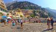 Leinwandbild Motiv Crowds On Walkway And Beach At Positano