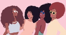 Group Of African Afro Women Fr...