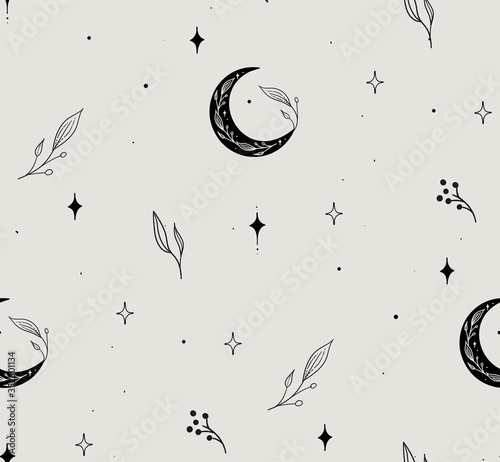 Photo Vector Hand Drawn Line Drawing Doodle Floral Seamless Pattern with Moon, Stars, Plants, Branches, Leaves, berries