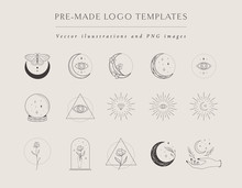 Collection Of Vector Hand Drawn Logo Design Templates And Elements, Frames, Detailed Decorative Illustrations And Icons For Various Ocasions And Purposes. Trendy Line Drawing, Lineart Style
