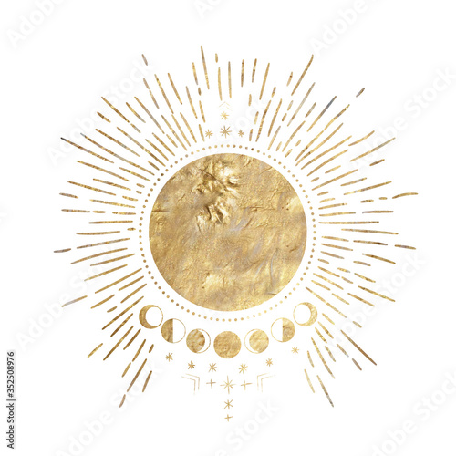 Fototapeta chic golden luxurious retro vintage engraving style. image of the sun and moon phases. culture of occultism. Vector graphics obraz
