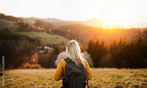 Obraz na plátně Rear view of senior woman walking outdoors in nature at sunset, hiking
