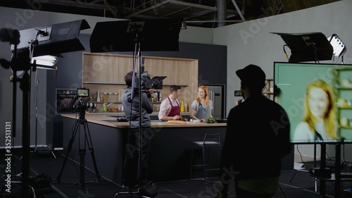 Tablou Canvas WIDE Behind the scenes of studio set, shooting TV television cooking show featur