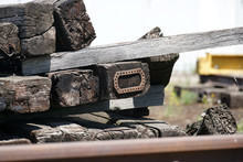 Old Exchanged Wooden Railway Sleepers Stored For Further Use