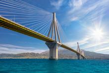 Modern Bridge Against Blue Sky...