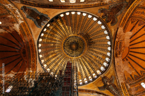 Interior Of Illuminated Hagia Sophia Wallpaper Mural