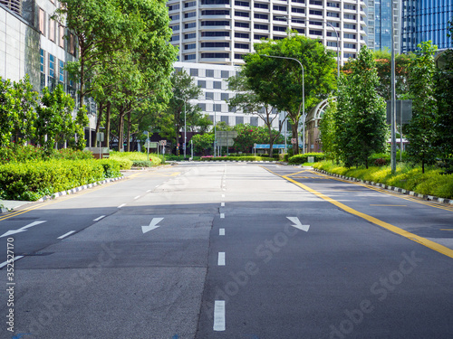 Quiet Singapore street with less tourists and cars during the city lockdown calledCircuit Breaker Wallpaper Mural