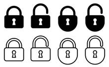 Lock Icon Set.Illustration Vec...