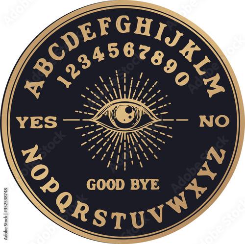 Obraz na plátně Ouija planchette with eye of providence line art, vector illustration isolated on white