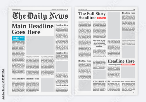Graphical Layout Newspaper Template Fototapete